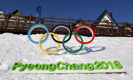 Olympic sign promoting the winter Games 2018 in Pyeongchang, south Korea
