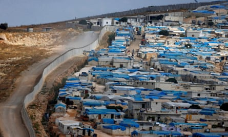 The Syrian town of Atimha, at the border wall between Turkey and Syria.