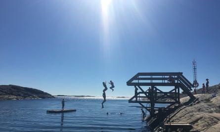 island of Tjörn diving tower at Stockevik. West Sweden