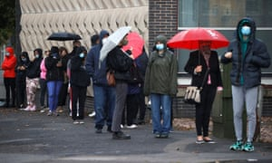People in Liverpool queuing today to get tested for coronavirus.