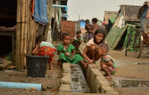 Rohingya children at a displacement camp in Sittwe, in western Myanmar, 2016. Photograph: Win Moe/AFP/Getty Images