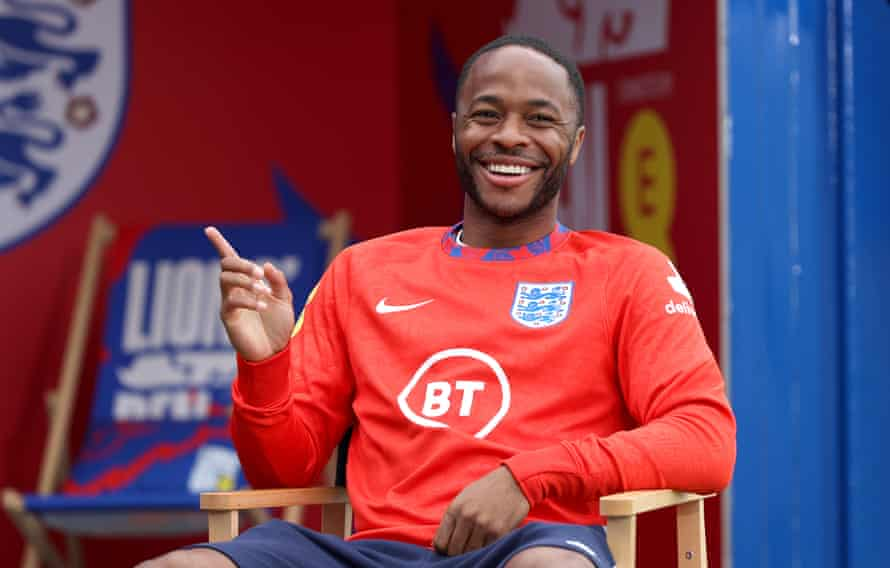 Raheem Sterling during an interview at St George's Park on Thursday.