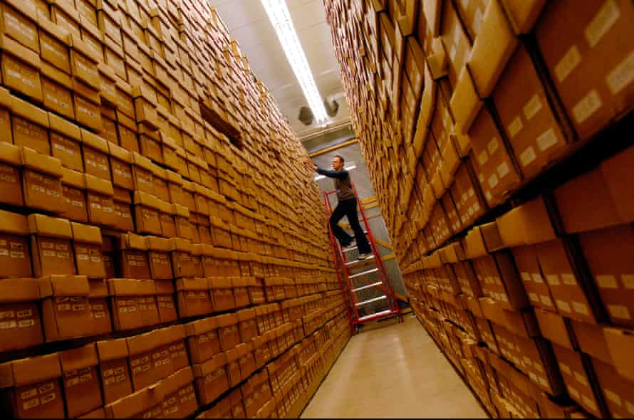 Archivist William Lowry takes out a box containing CDs in the British Library Sound Archive in Islington, London.