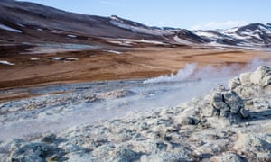 Sulphur escapes from the ground in the geothermal area of Hverir.