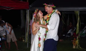 Rachelle Bergeron and Simon Hammerling at their wedding in Yap in October 2018.