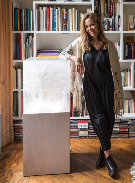 Donoso with a resin cube sculpture from her The Light Project series.