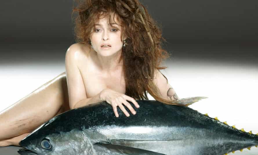 Naked Helena Bonham Carter cuddling a tuna