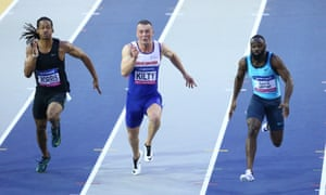 Richard Kilty, centre, is considered an indoor specialist but believes he can transfer his success to the Olympics.