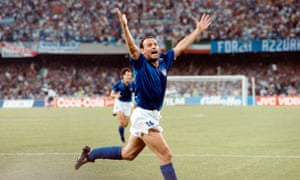 Salvatore 'Toto' Schillaci celebrates after scoring for Italy in their 1990 World Cup semi-final with Argentina in Naples. The hosts went onto lose on penalties