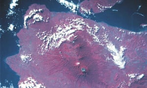 A coloured infrared image of Mount Raung volcano, Java, Indonesia, in May 1992 taken by Nasa.