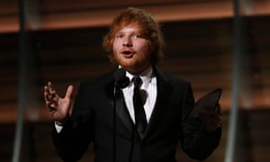 Song of the year … Ed Sheeran accepts a Grammy for Thinking Out Loud in Los Angeles last February.