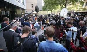 Media outside Melbourne county court on 13 March during George Pell's sentencing for child sex abuse.