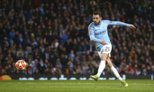 Manchester City's Bernardo Silva scores his side's fifth goal.