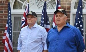 Prime minister Scott Morrison and Australia's ambassador to the US Joe Hockey speak in Washington in September.