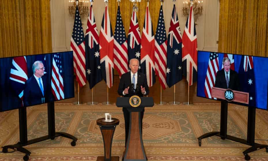 President Joe Biden announces the Aukus deal with Boris Johnson and Scott Morrison