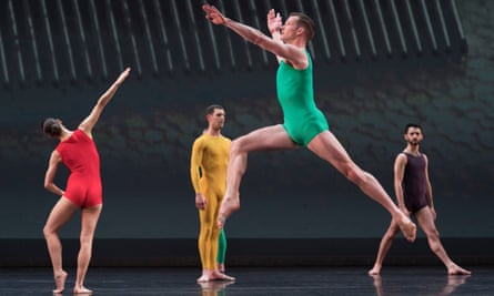 Dancers perform at the Merce Cunningham centenary celebration at the Barbican theatre in London
