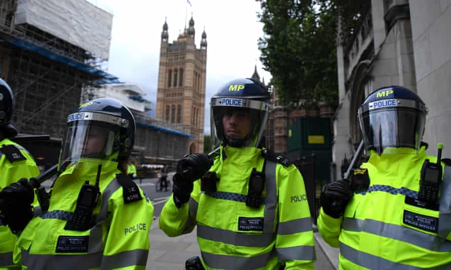 Police officers at a Black Lives Matter protest at the Houses of Parliament on 7 June 2020.