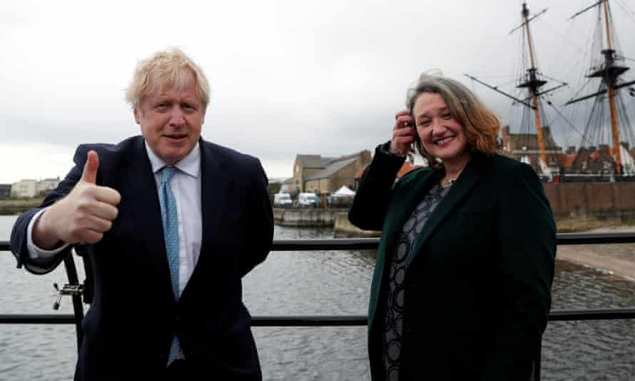 Boris Johnson and the newly elected MP for Hartlepool, Jill Mortimer, at Jacksons Wharf Marina in Hartlepool after the local elections.