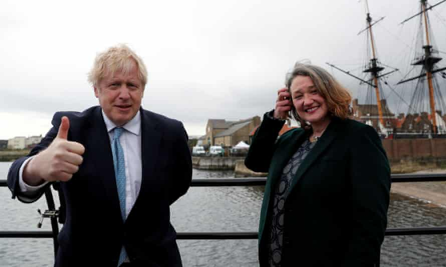 Boris Johnson and newly elected Conservative MP Jill Mortimer in Hartlepool on 7 May.