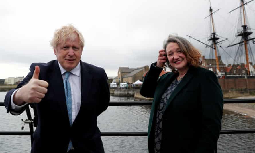 Jill Mortimer, right, with Boris Johnson
