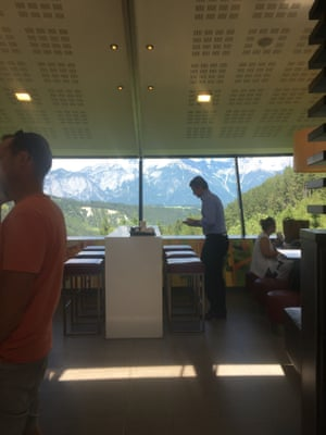 A photo from inside the McDonald's in the Alps near the border of Germany and Austria