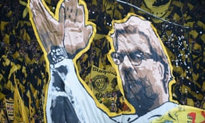 Dortmund fans with a Jürgen Klopp banner in his final home game as manager