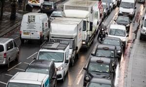 Heavy traffic on the Embankment.