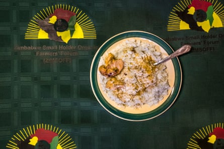 Mudzingwa's meal of rice, vegetables and chicken