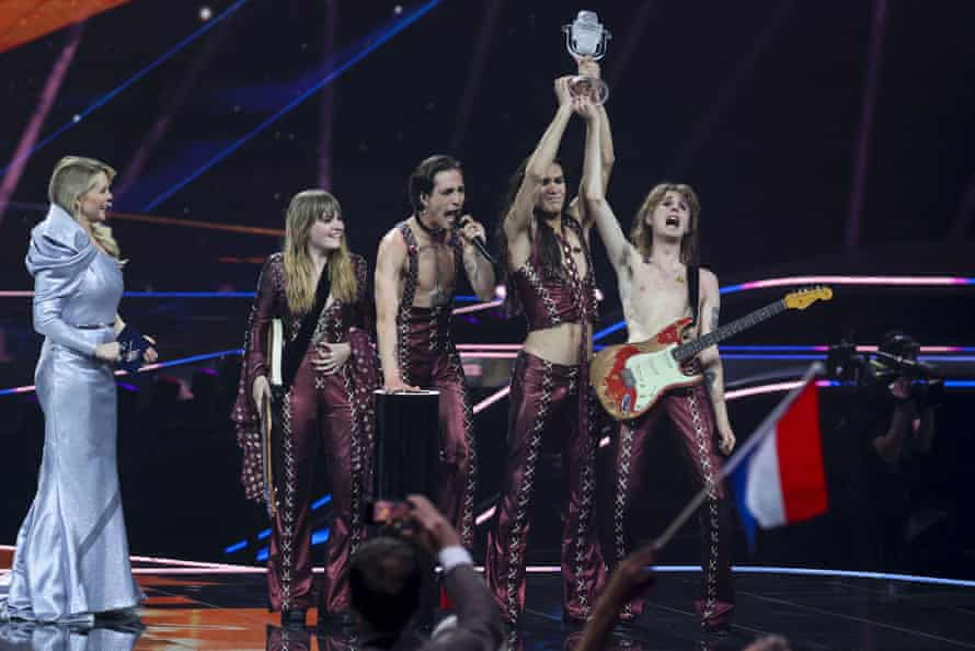 The band celebrate after winning Eurovision last month