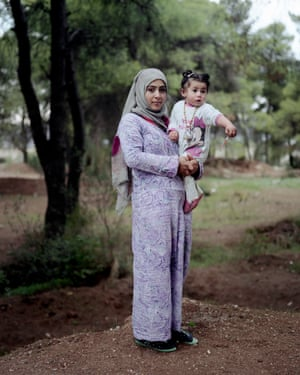 Robin Riad Dawood, 17, with her one-year-old daughter Maldan. She is now a mother of two, having given birth in Athens to a baby boy only fifteen days ago.
