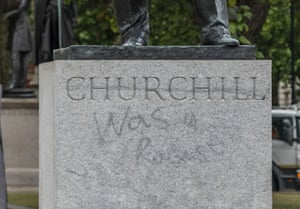The Churchill Statue following Black Lives Matter protests in London