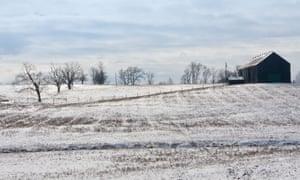 Farm winter landscape