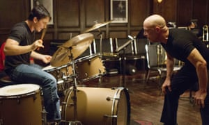 A different drum … Simmons earned an Oscar for his performance in Whiplash, with Miles Teller.