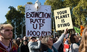 An Extinction Rebellion protest against the inaction of the British government in the face of climate change and ecological collapse on 31 October 2018 in London