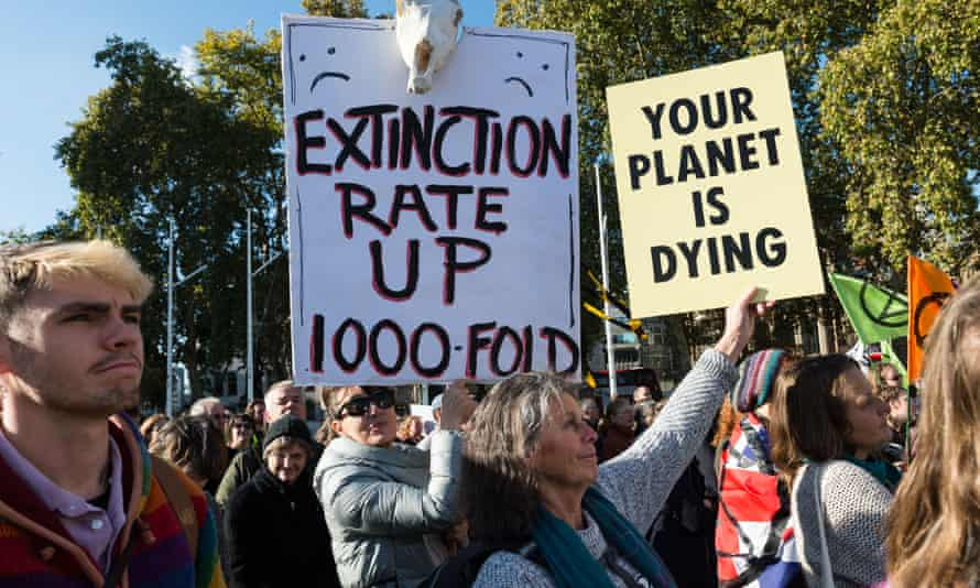 Demonstrators at an 'Extinction Rebellion' protest in London