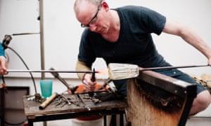 Glassmaker Michael Ruh at work in his studio.