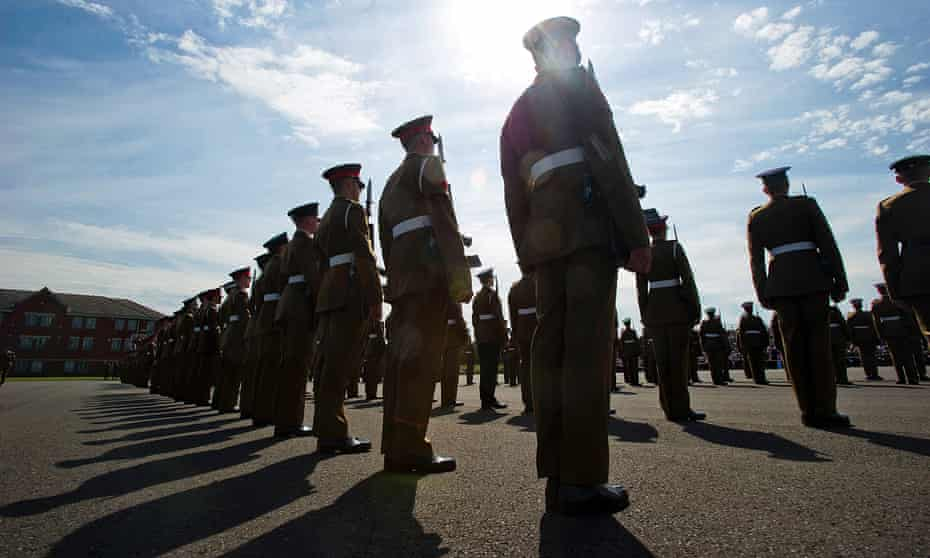 Junior soldiers during a passing-out parade.
