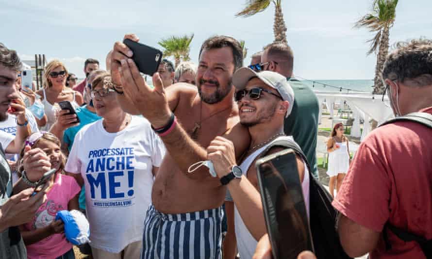 Matteo Salvini meets his followers on the beach of Baia-Domitia, Caserta