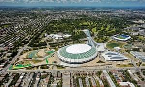 Aerial view of Olympic Stadium; Montreal, Quebec, Canada