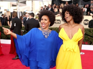 Black-ish star Jenifer Lewis with Sydelle Noel in primary colours on the red carpet.