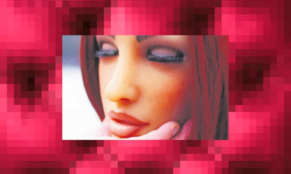 a Sex Robot against an abstract pixellated background