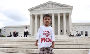 US Supreme Court rulingepa05386131 A boy wears a t-shirt reading 'Don't deport my mom' as immigration supporters react after the Supreme Court issued a split ruling on President Obamas Immigration Policy outside the Supreme Court, in Washington, DC, USA, 23 June 2016. EPA/ANDREW GOMBERT