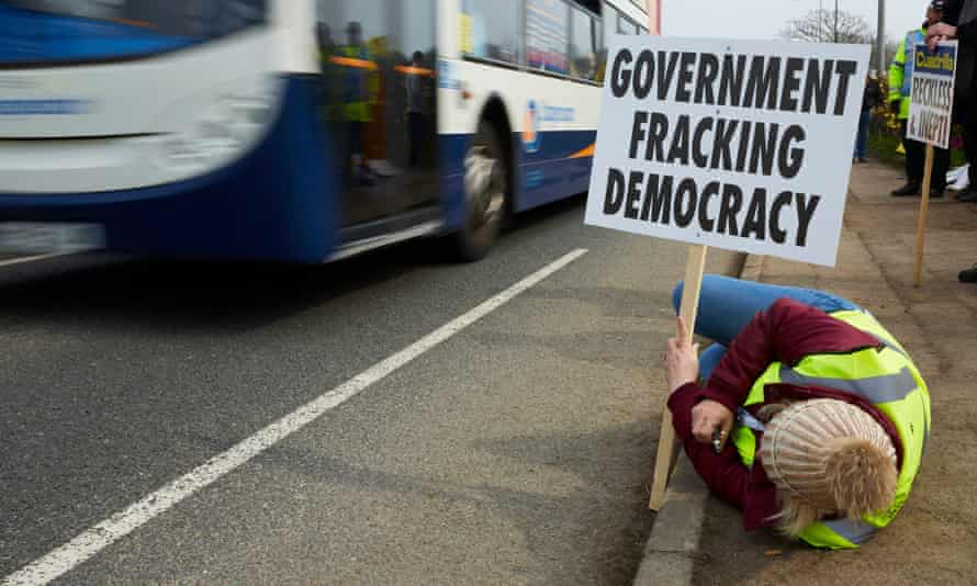 Lancashire protestors demonstrating at a site near Blackpool