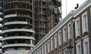 New London apartment block under construction