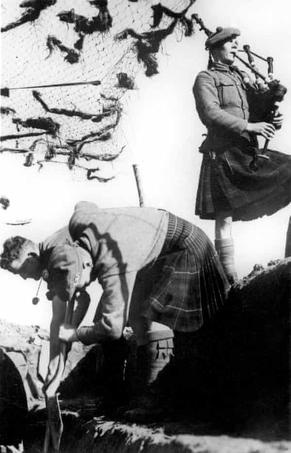 A detachment of the Highland Regiment dig trenches in France during the second world war, accompanied by a piper.