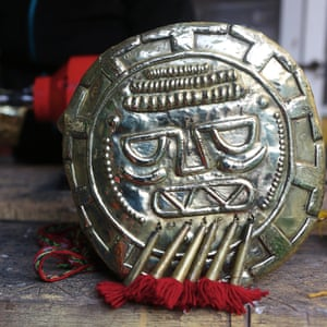 The symbol of the Inti, the sun, sits on a worktop waiting to be burnished at Filigranas Peruanas, a cultural organisation which produces the spectacle. It is worn by the actor playing the Sapa Inca.