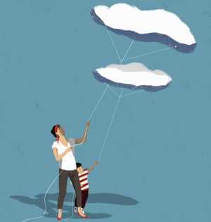 Illustration of parent and child with clouds as kites