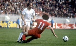 Souness thwarting another of Real Madrid's big-name players, Uli Stielike