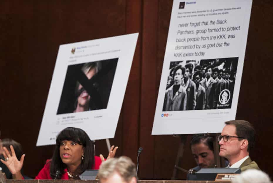 Divisive Russian-backed Facebook ads are displayed during a hearing by the House intelligence committee task force, during which Facebook's general counsel was questioned.