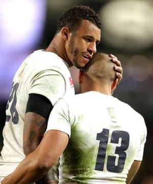 Courtney Lawes, left, and Jonathan Joseph celebrate England's victory.
